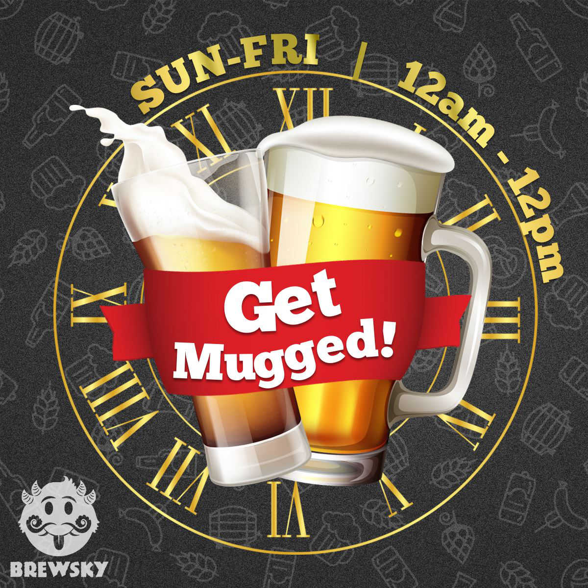 Get Mugged creative for Brewsky microbrewery